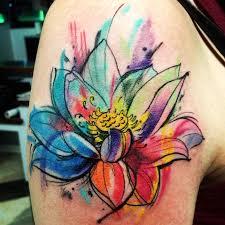 watercolor lotus flower tattoo design for shoulder