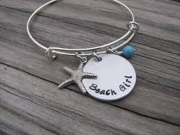 beaded bracelet girl images Beach girl bracelet with starfish charm hand stamped bracelet jpg