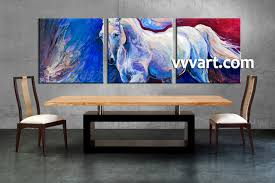 Dining Room Paintings by 3 Piece Horse Wildlife Blue Canvas Wall Art