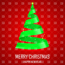 christmas tree made of green ribbon on red background vector image