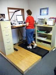 stand up desk treadmill raised platform recessed treadmill walking