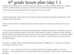 6 th grade lesson plan day 1 students will be learning how to