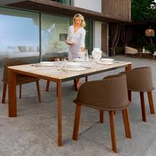 contemporary dining table stone teak rectangular cleo by