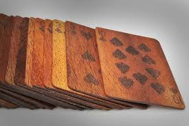 wooden deck of cards