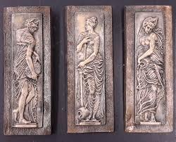 danaides argos greek wall home decor plaque set of 3 vintage art