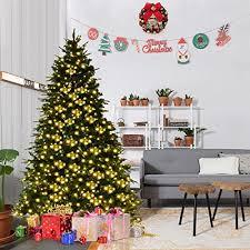 goplus 7ft pre lit artificial tree premium spruce hinged