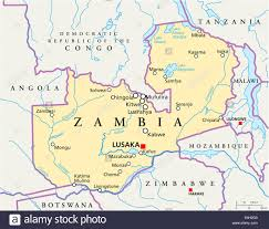 Map Of Zambia Zambia Political Map With Capital Lusaka National Borders Most