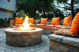Patio Firepit Outdoor Kitchens Pits Green Landscaping Built In
