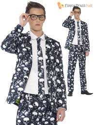 teen boy skeleton zombie print stand out suit halloween fancy