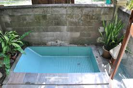 villa kembang desa outdoor shower in stone tub corner garden tub