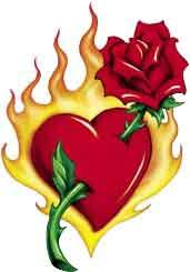 burning heart u0026 rose tattooforaweek temporary tattoos largest