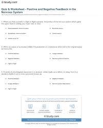 quiz u0026 worksheet positive and negative feedback in the nervous