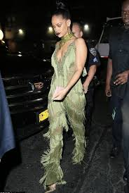 rihanna jumpsuit jumpsuit fringes fringed top rihanna vma plunge v neck