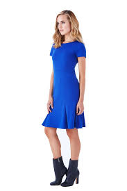short sleeve fit u0026 flare cobalt blue knit dress u2013 klarety