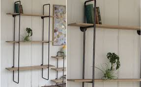 Wall Mounted Wooden Shelves by Three Tiered Metal Tube Frame Wall Shelf With Wooden Shelves