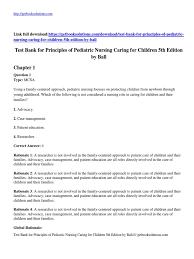test bank for principles of pediatric nursing caring for children