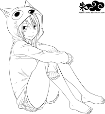 fairy tail lucy heartilia happy lineart by adsontaicho on