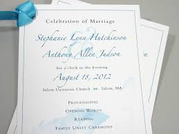 wedding ceremony program one page custom traditional blue