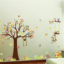 stickers animaux chambre bébé singes arbre stickers muraux pour enfants chambre décoration
