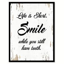 life is short smile quote saying home decor wall art gift ideas