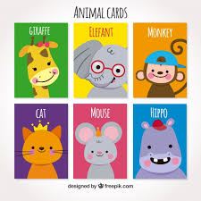 set of cards with smiley animals vector free