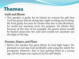 themes in god are not to blame poem analysis on on his blindness by john milton