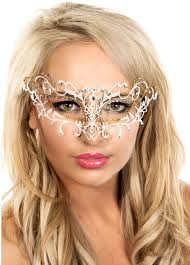 metal masquerade mask antique deluxe white and gold metal masquerade mask