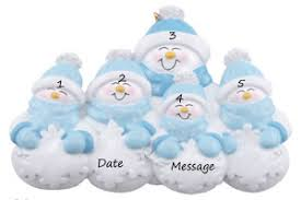 buy snow family of 5 with blue scarves ornament personalized