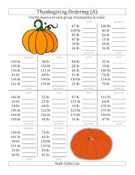 the ordering pumpkin masses in pounds a math worksheet from the