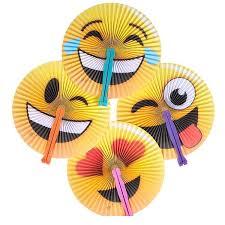 folding fans domagron emoticon emoji held folding fan package of 12