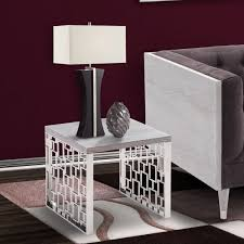 End Table Ls Living Skyline Gray Wash End Table In Brushed Steel Finish