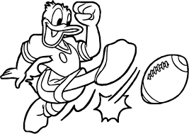 donald duck american playing football coloring page wecoloringpage