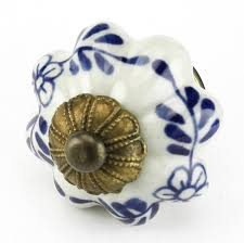 blue floral ceramic cabinet knob drawer pull u0026 handles set 8pc