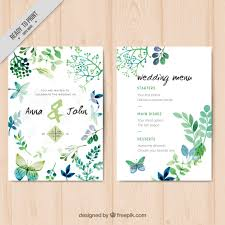 wedding invitations freepik wedding invitation with watercolor leaves and butterflies vector