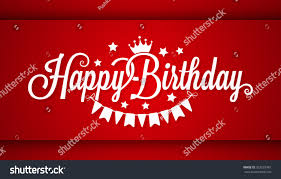 happy birthday card on red background stock vector 553555981