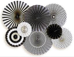 white paper fans black and white paper rosette backdrop graduation party