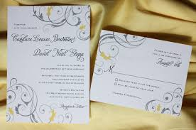 Vintage Wedding Programs Yellow And Gray Floral Swirl Wedding Invitations U0026 Programs