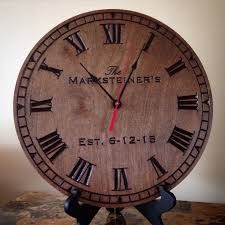 family name est clock carved engraved personalized clock wedding