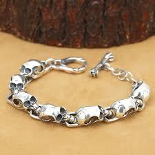 skull link bracelet images New handcrafted real 925 silver skeleton bracelet vintage jpg