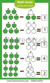 math educational game children counting equations stock vector