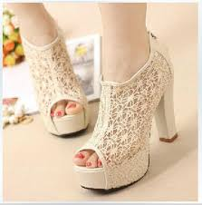 wedding shoes high 2015 fashion women lace fish high heels beige black