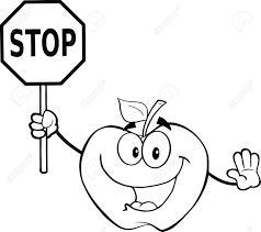black and white apple cartoon mascot character holding a stop