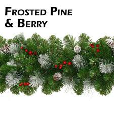 frosted garland with pine cones and berries