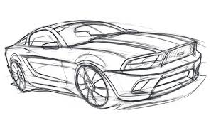 drawn car mustang pencil and in color drawn car mustang