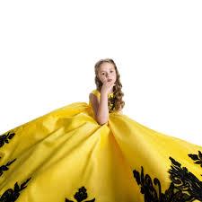 aliexpress com buy princess satin lace applique yellow party