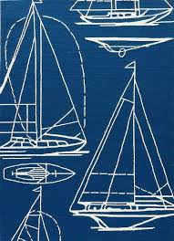 boats blue and white rug