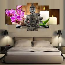 home decor buddha 5 panel buddha cuadros modular frame pictures poster ethnic india