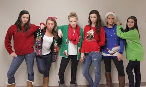 students wear tacky sweaters for coty points the