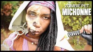 Carl Walking Dead Halloween Costume Jawless Zombie Pet Michonne Diy Michonne Cloak Walking