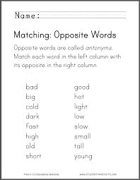 matching opposite words worksheet free to print pdf